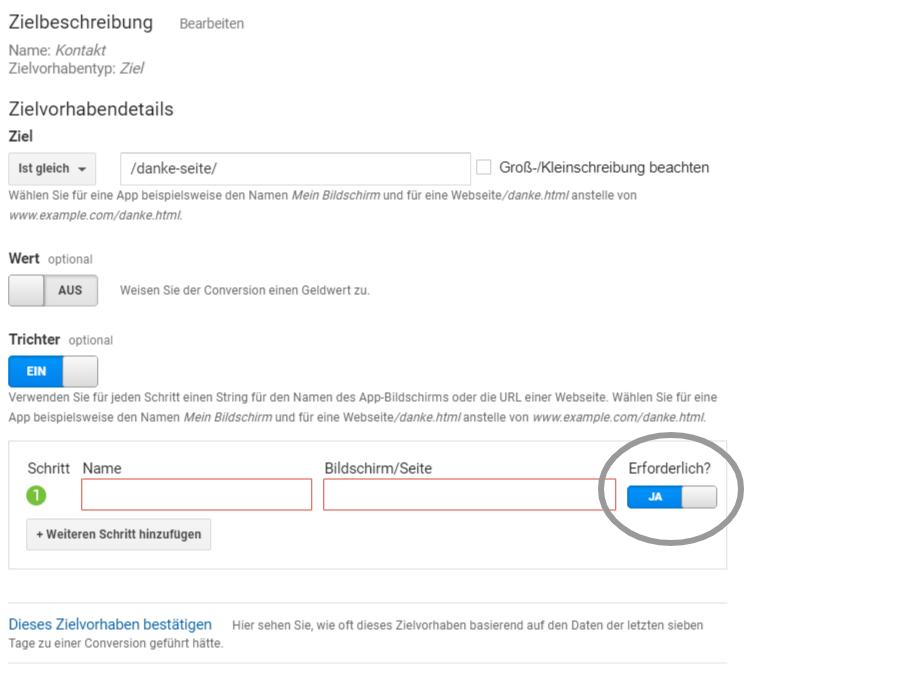Google Analytics Erforderlich-Funktion