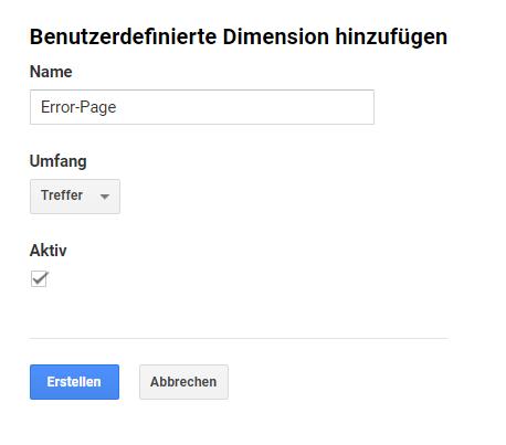 Benutzerdefinierte Dimension erstellen