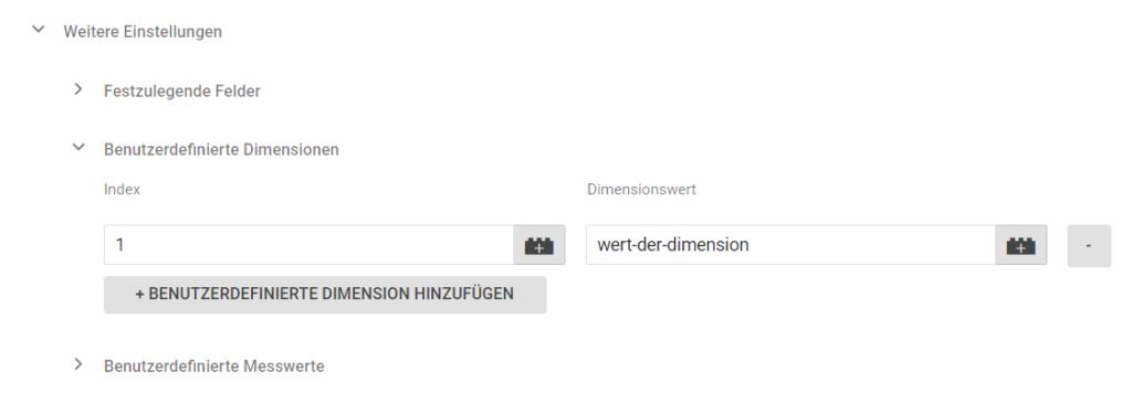 Benutzerdefinierte Dimensionen
