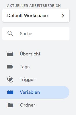 Google Tag Manager Menü Variablen