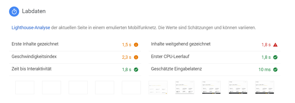 Google Pagespeed Insights Labdaten