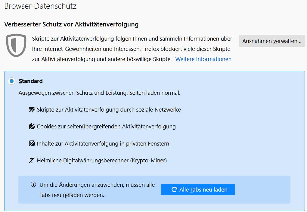 Firefox Tracking-Schutz