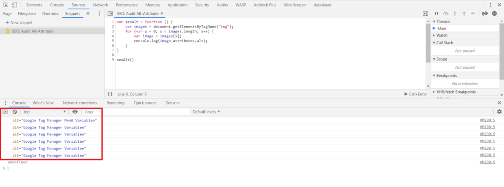 Developer Tools Snippets