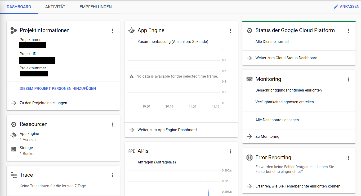 Google Cloud Plattform Konsole