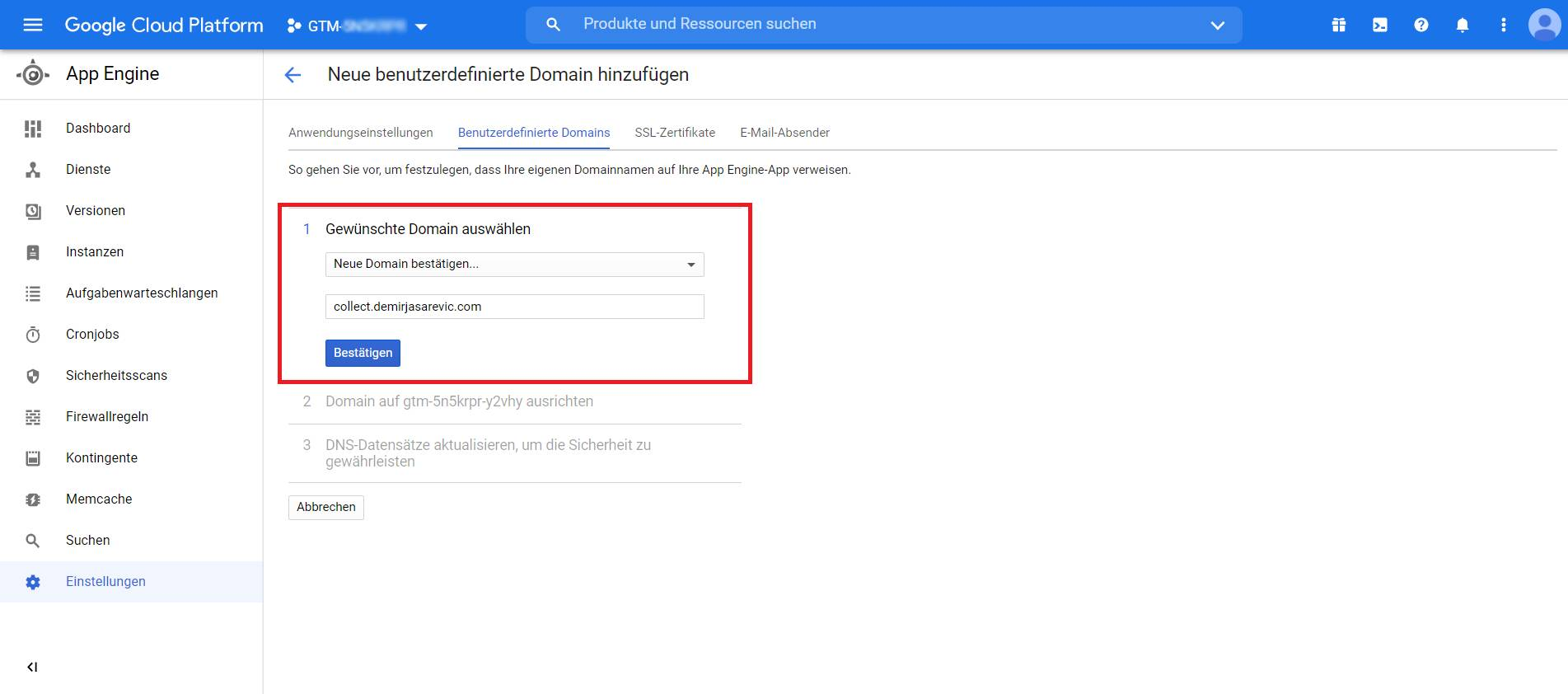 GCP Subdomain