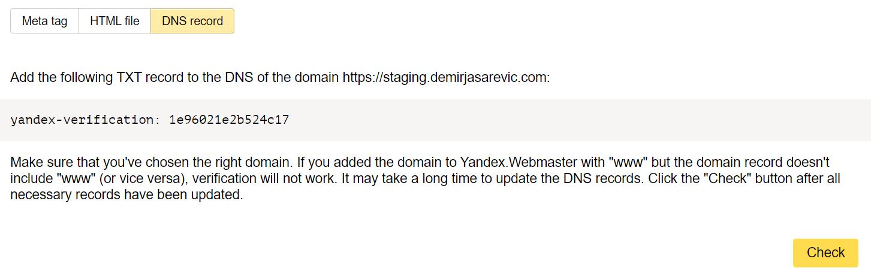 Yandex Webmaster Tools DNS