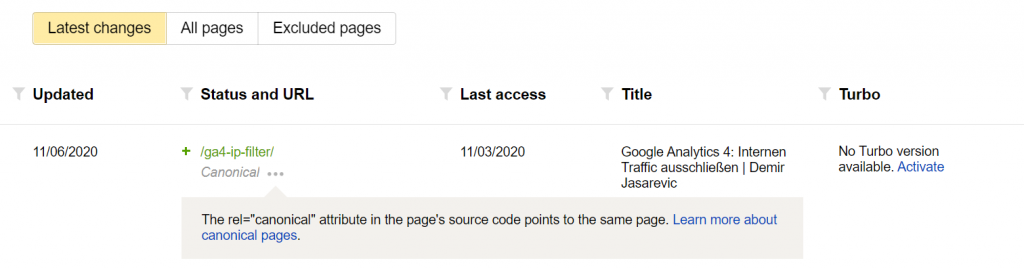 Yandex Webmaster Tools Latest Changes
