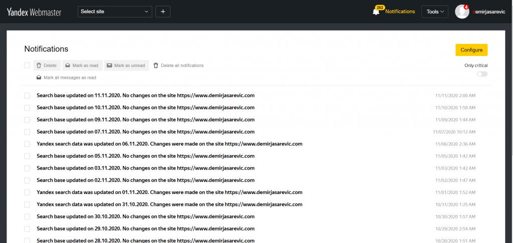 Yandex Webmaster Tools Post