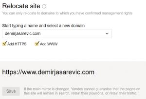 Yandex Domain-Umzug