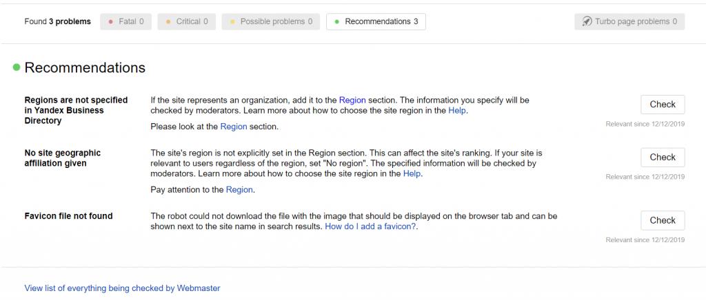 Yandex Webmaster Tools Site diagnostics