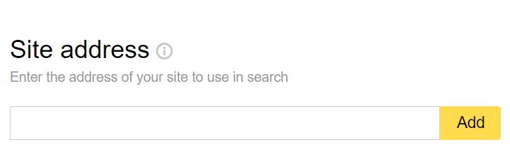 Yandex Webmaster Tools: Seite hinzufügen