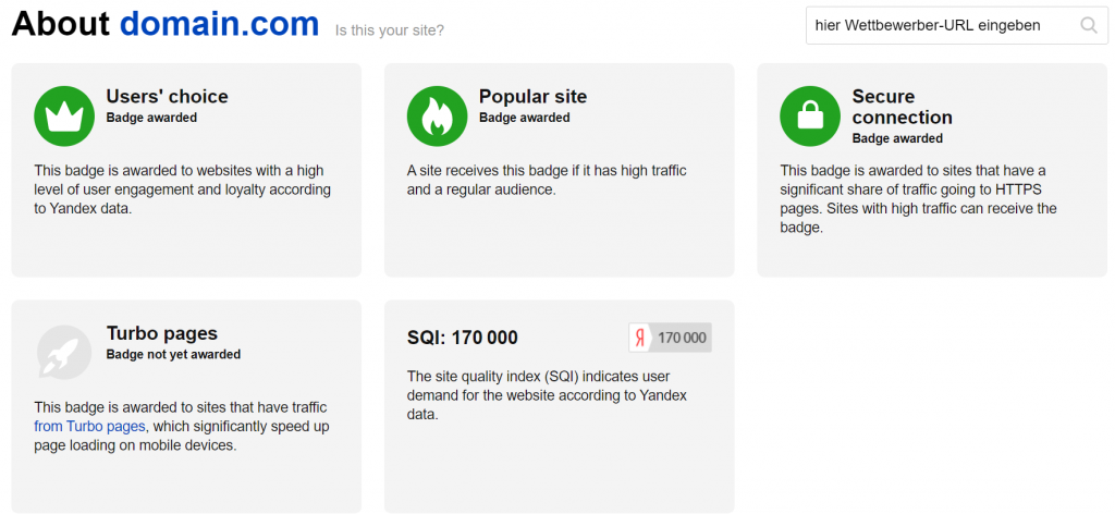 Yandex Webmaster Tools Siteinfo