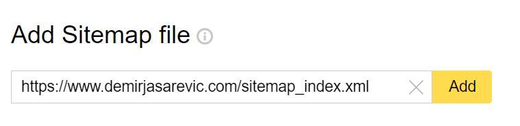 Yandex Webmaster Tools - Sitemap einreichen